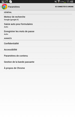 Paramètres de l'application Chrome sous Android