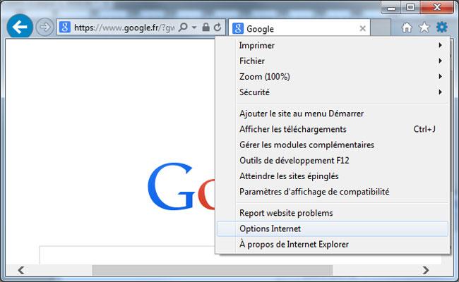 Ouvrir les options Internet d'IE11 sous Windows