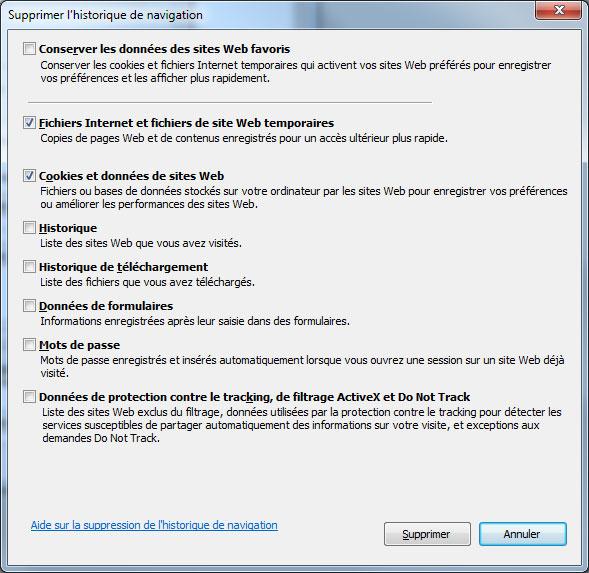 Supprimer l'historique de navigation d'IE11 sous Windows