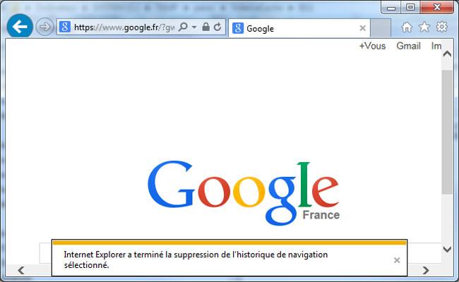 Internet Explorer (11) à terminé la suppression de l'historique de navigation d'IE11 sous Windows