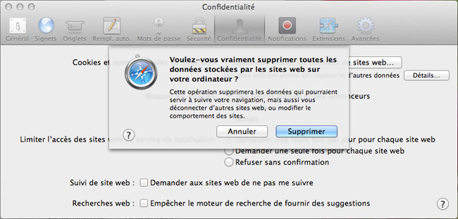 vider memoire cache mac safari